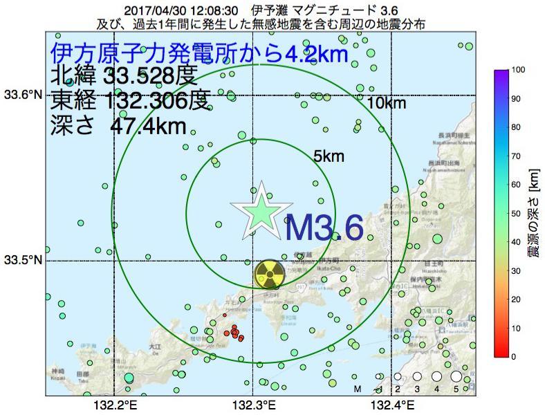 地震震源マップ:伊方原子力発電所から4.2km地点でM3.6の地震が発生しました