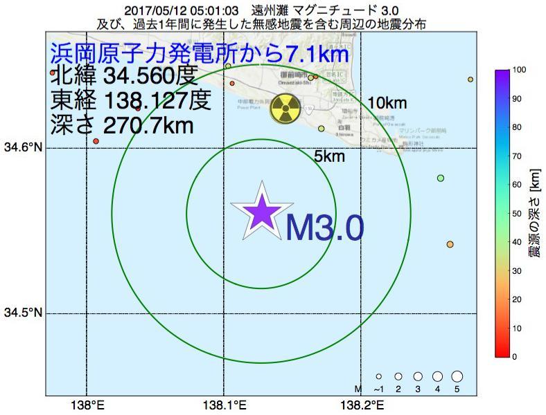 地震震源マップ:浜岡原子力発電所から7.1km地点でM3.0の地震が発生しました