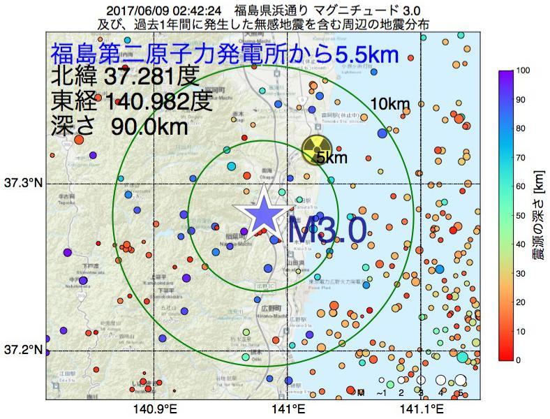 地震震源マップ:福島第二原子力発電所から5.5km地点でM3.0の地震が発生しました
