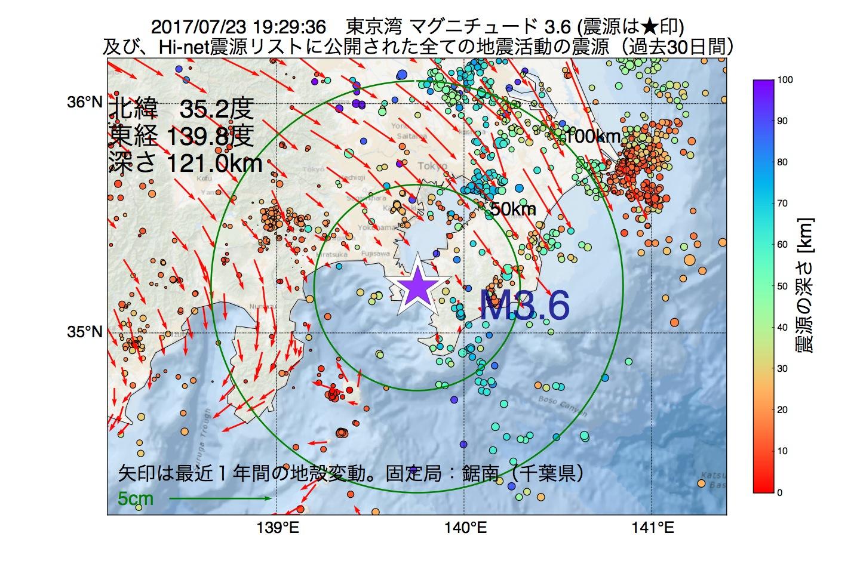 地震震源マップ:2017年07月23日 19時29分 東京湾でM3.6の地震