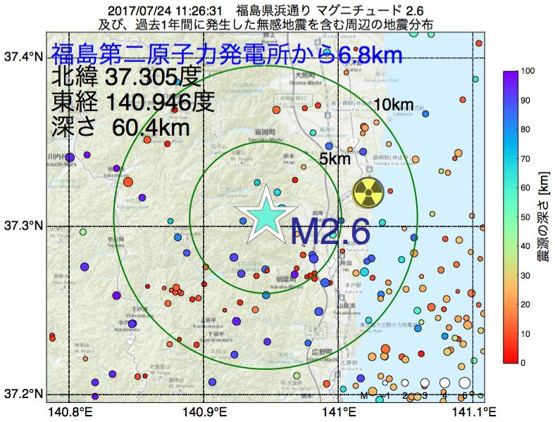 地震震源マップ:福島第二原子力発電所から6.8km地点でM2.6の地震が発生しました