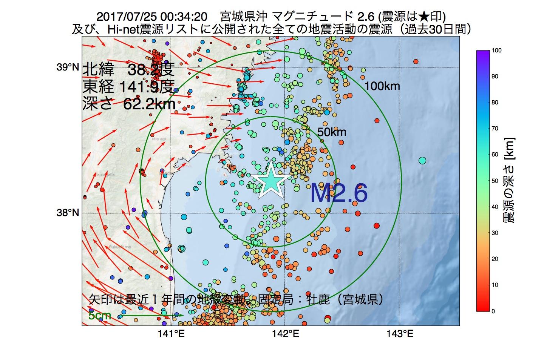 地震震源マップ:2017年07月25日 00時34分 宮城県沖でM2.6の地震