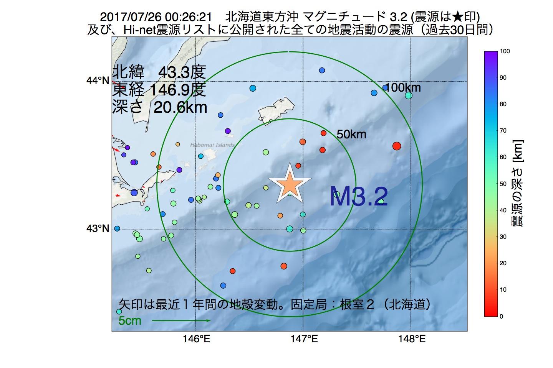 地震震源マップ:2017年07月26日 00時26分 北海道東方沖でM3.2の地震