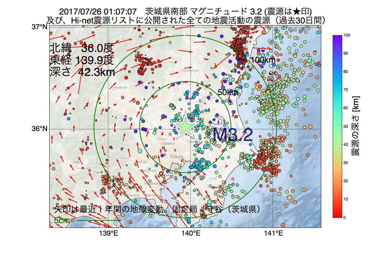地震震源マップ:2017年07月26日 01時07分 茨城県南部でM3.2の地震