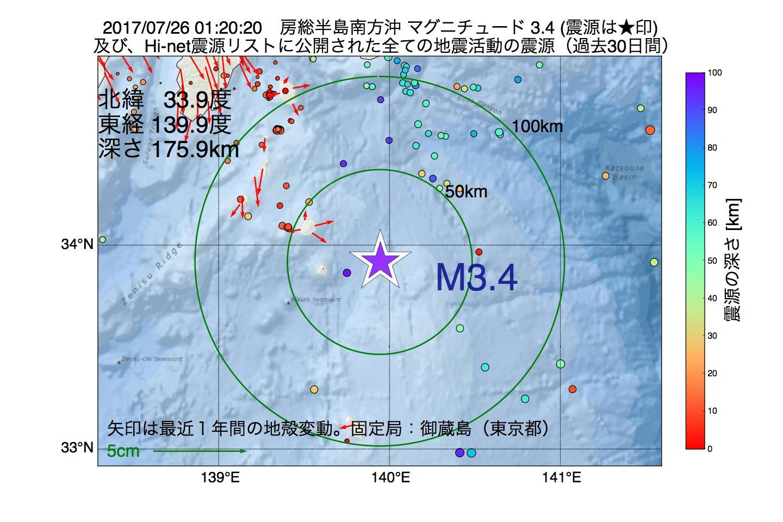 地震震源マップ:2017年07月26日 01時20分 房総半島南方沖でM3.4の地震