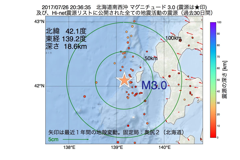 地震震源マップ:2017年07月26日 20時36分 北海道南西沖でM3.0の地震