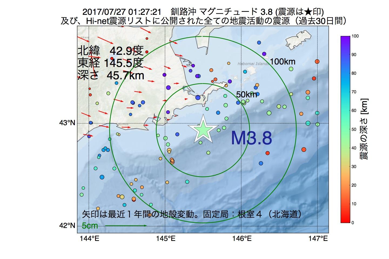 地震震源マップ:2017年07月27日 01時27分 釧路沖でM3.8の地震