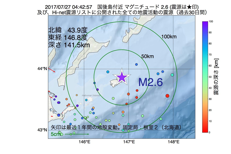 地震震源マップ:2017年07月27日 04時42分 国後島付近でM2.6の地震