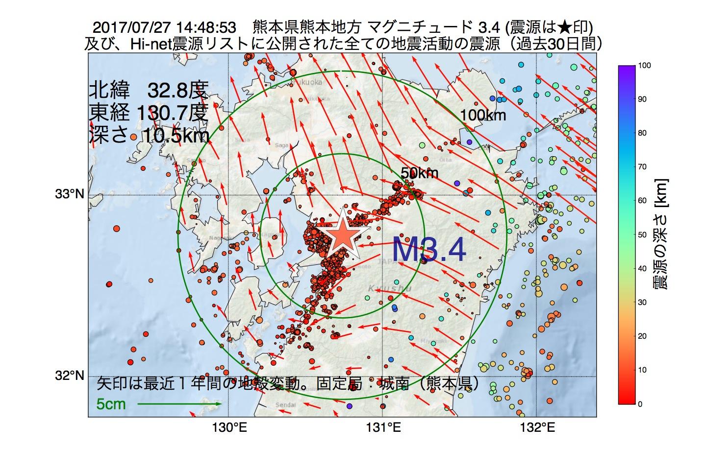 地震震源マップ:2017年07月27日 14時48分 熊本県熊本地方でM3.4の地震