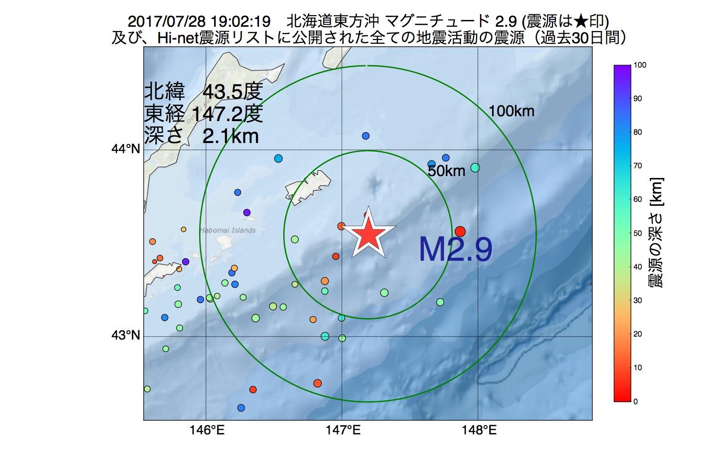 地震震源マップ:2017年07月28日 19時02分 北海道東方沖でM2.9の地震