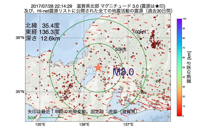 地震震源マップ:2017年07月28日 22時14分 滋賀県北部でM3.0の地震