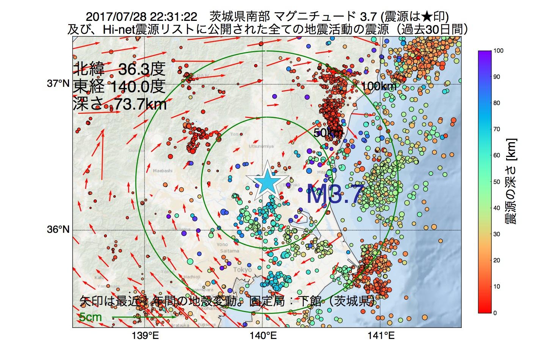 地震震源マップ:2017年07月28日 22時31分 茨城県南部でM3.7の地震