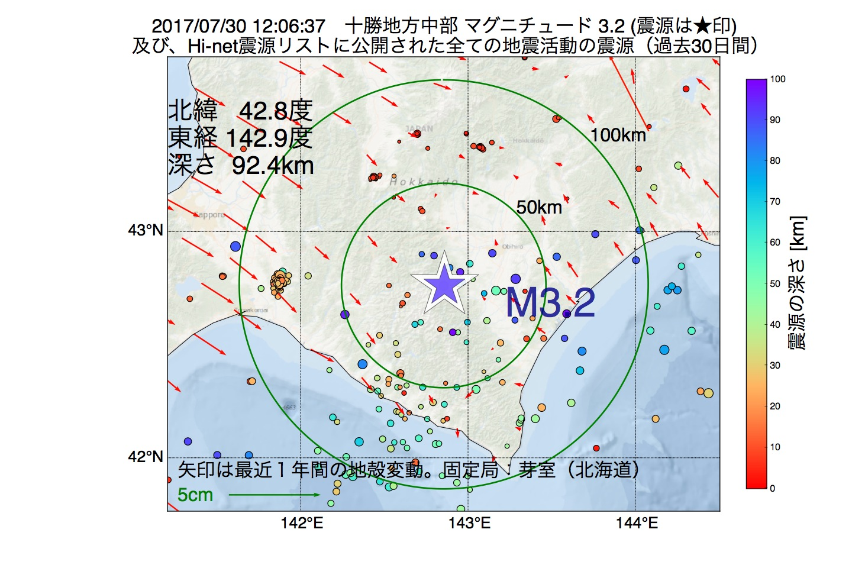 地震震源マップ:2017年07月30日 12時06分 十勝地方中部でM3.2の地震