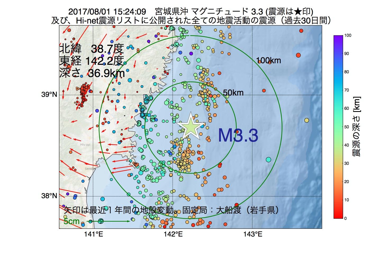 地震震源マップ:2017年08月01日 15時24分 宮城県沖でM3.3の地震