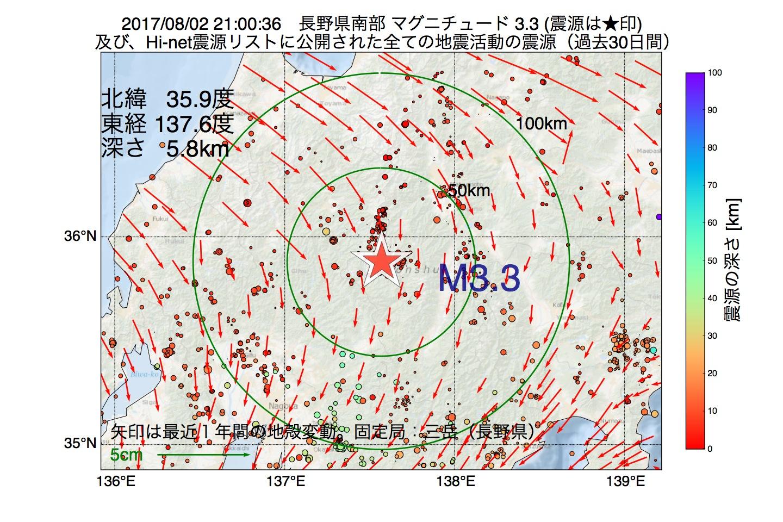地震震源マップ:2017年08月02日 21時00分 長野県南部でM3.3の地震