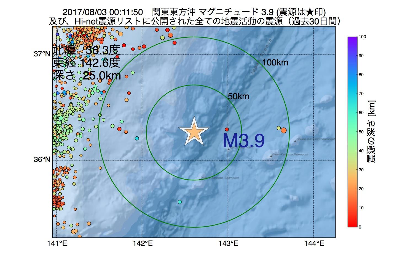 地震震源マップ:2017年08月03日 00時11分 関東東方沖でM3.9の地震