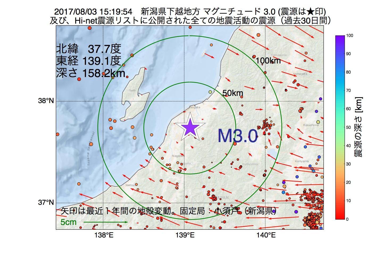 地震震源マップ:2017年08月03日 15時19分 新潟県下越地方でM3.0の地震