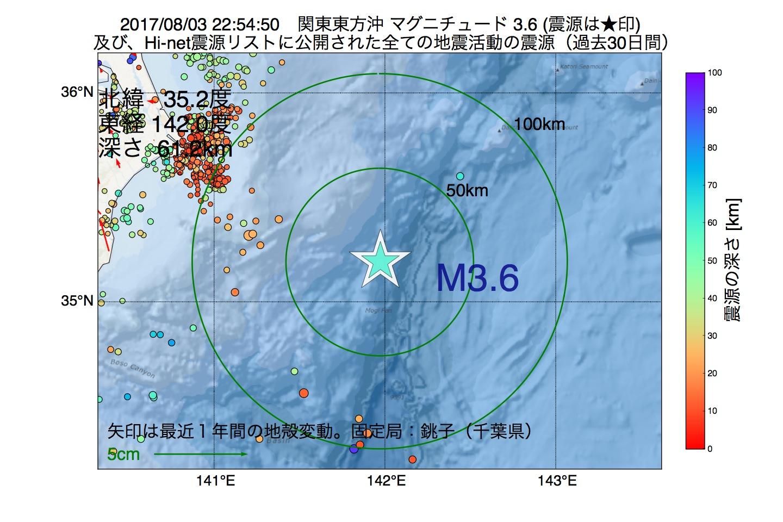 地震震源マップ:2017年08月03日 22時54分 関東東方沖でM3.6の地震