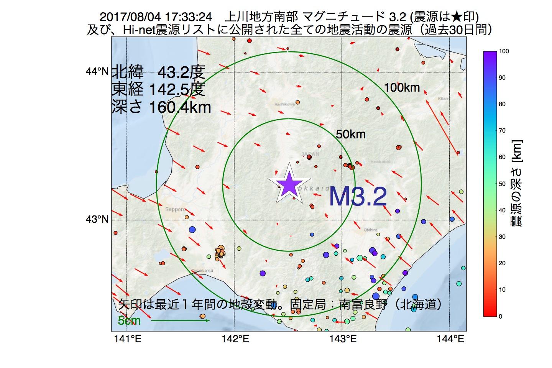 地震震源マップ:2017年08月04日 17時33分 上川地方南部でM3.2の地震