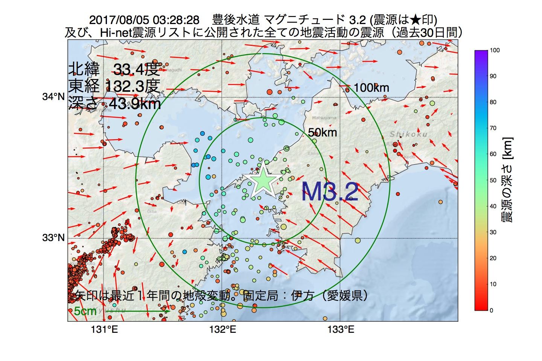 地震震源マップ:2017年08月05日 03時28分 豊後水道でM3.2の地震
