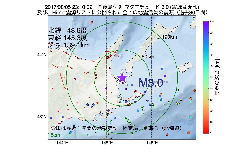 地震震源マップ:2017年08月05日 23時10分 国後島付近でM3.0の地震