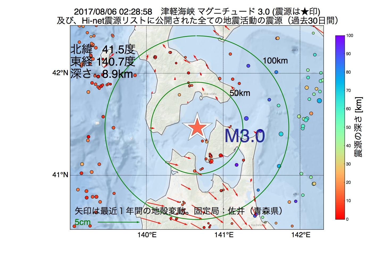 地震震源マップ:2017年08月06日 02時28分 津軽海峡でM3.0の地震