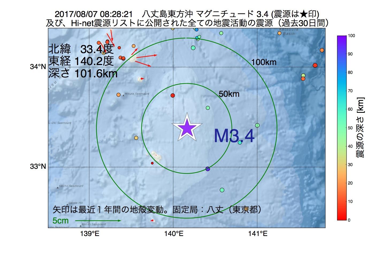 地震震源マップ:2017年08月07日 08時28分 八丈島東方沖でM3.4の地震