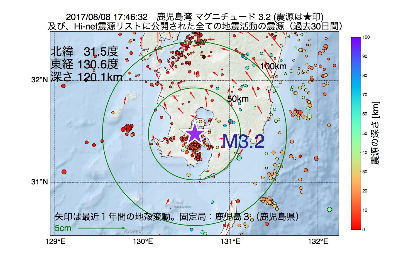 地震震源マップ:2017年08月08日 17時46分 鹿児島湾でM3.2の地震
