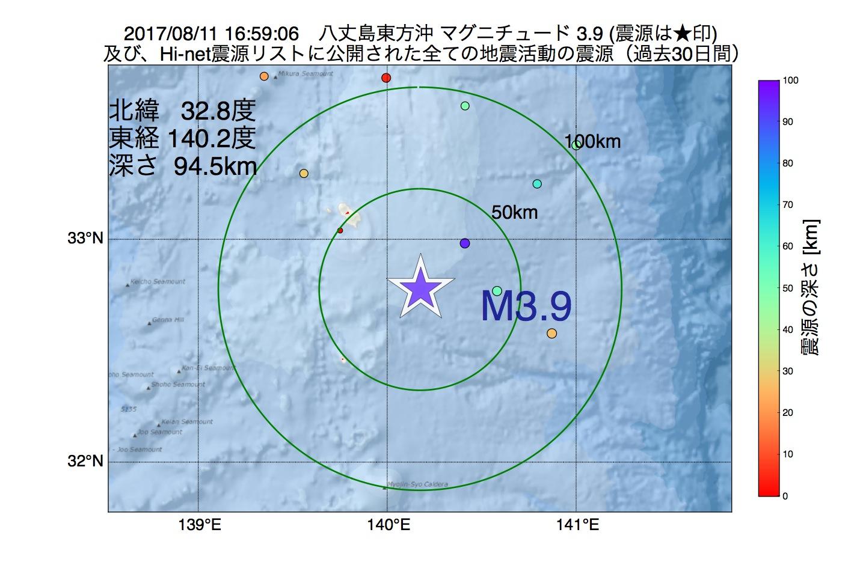 地震震源マップ:2017年08月11日 16時59分 八丈島東方沖でM3.9の地震