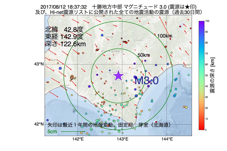 地震震源マップ:2017年08月12日 18時37分 十勝地方中部でM3.0の地震