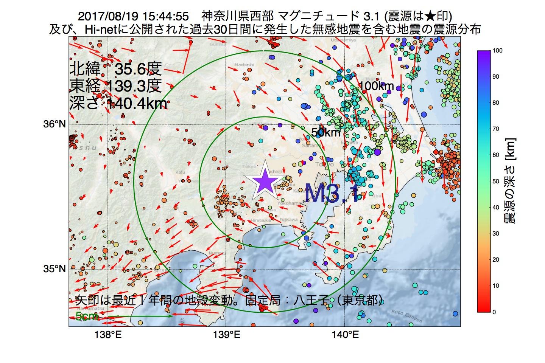 地震震源マップ:2017年08月19日 15時44分 神奈川県西部でM3.1の地震