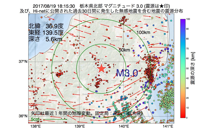 地震震源マップ:2017年08月19日 18時15分 栃木県北部でM3.0の地震