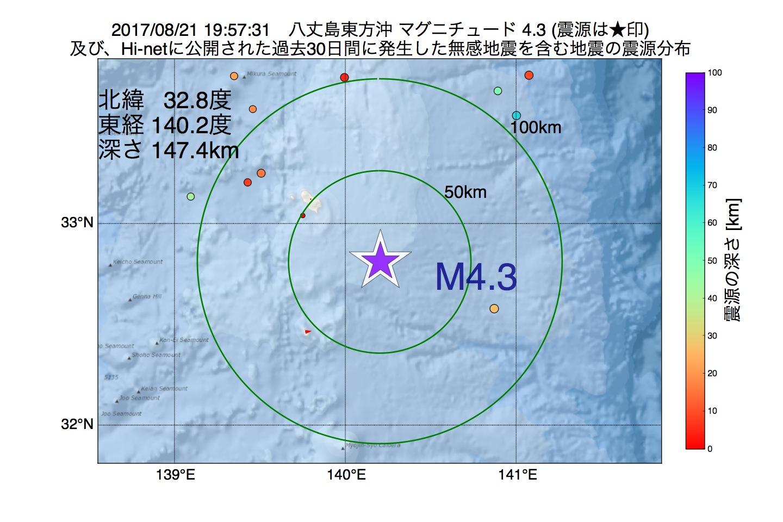 地震震源マップ:2017年08月21日 19時57分 八丈島東方沖でM4.3の地震