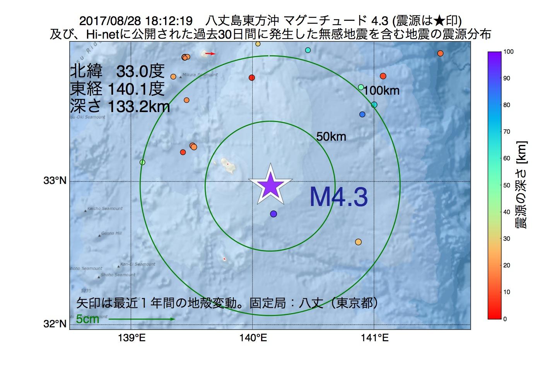 地震震源マップ:2017年08月28日 18時12分 八丈島東方沖でM4.3の地震
