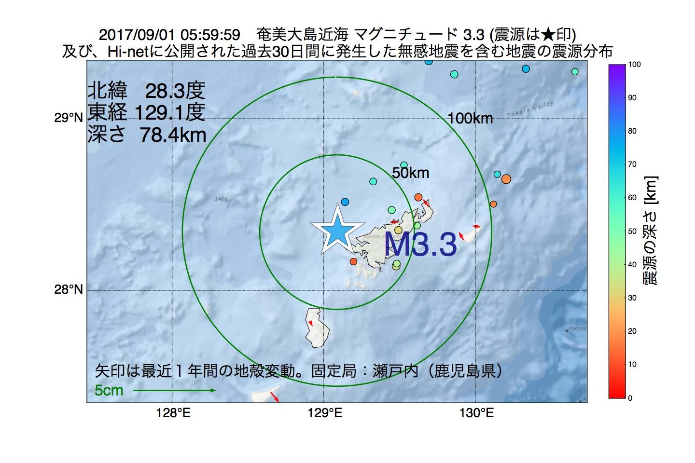 地震震源マップ:2017年09月01日 05時59分 奄美大島近海でM3.3の地震