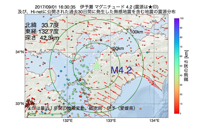 地震震源マップ:2017年09月01日 16時30分 伊予灘でM4.2の地震