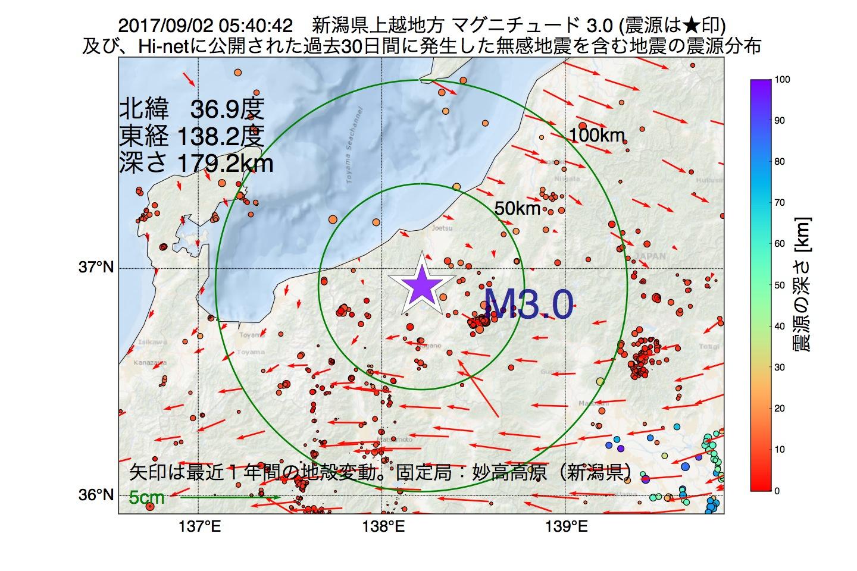地震震源マップ:2017年09月02日 05時40分 新潟県上越地方でM3.0の地震