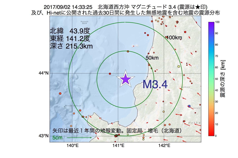 地震震源マップ:2017年09月02日 14時33分 北海道西方沖でM3.4の地震