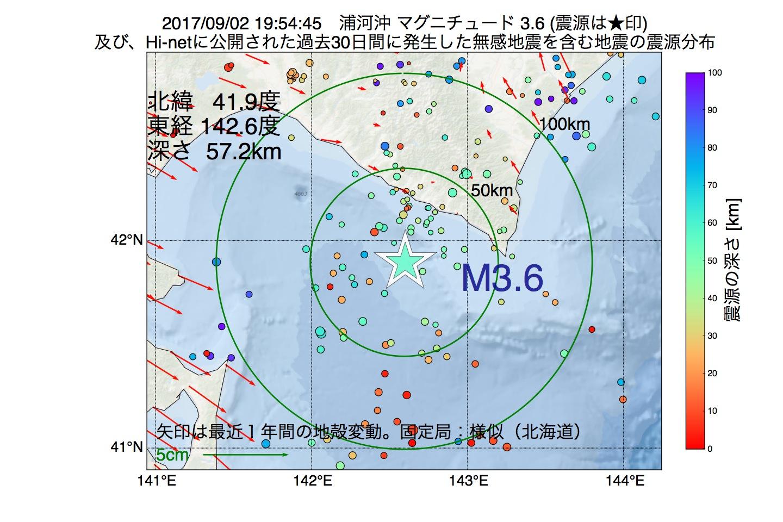 地震震源マップ:2017年09月02日 19時54分 浦河沖でM3.6の地震