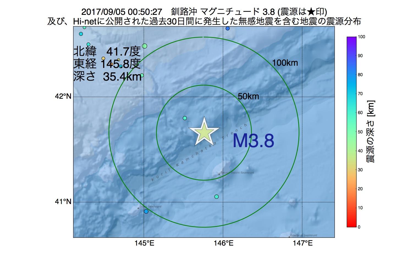 地震震源マップ:2017年09月05日 00時50分 釧路沖でM3.8の地震