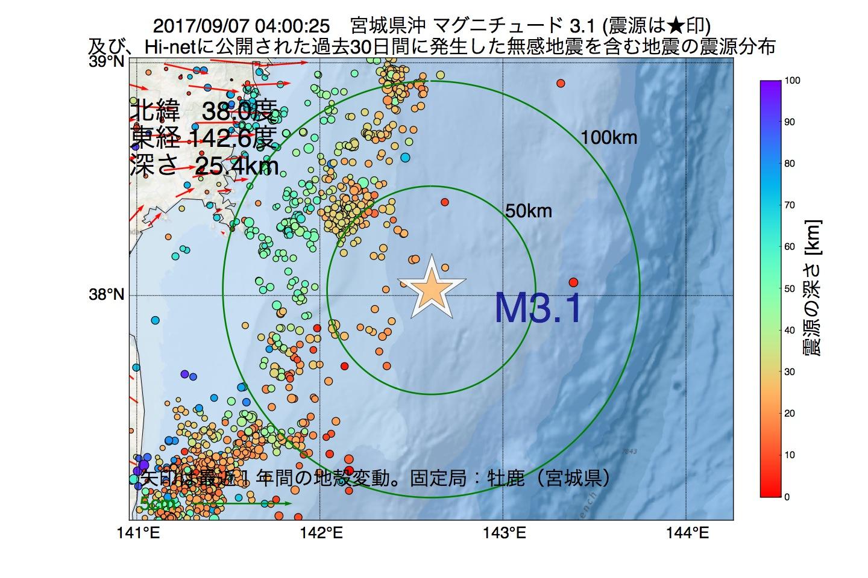 地震震源マップ:2017年09月07日 04時00分 宮城県沖でM3.1の地震