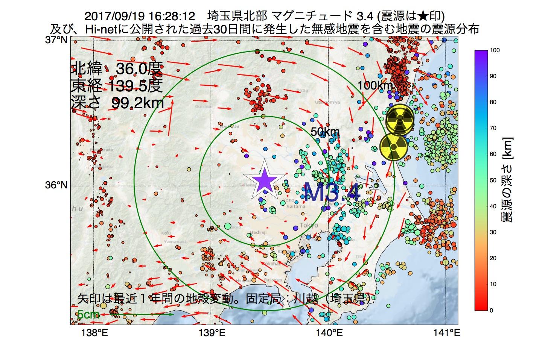 地震震源マップ:2017年09月19日 16時28分 埼玉県北部でM3.4の地震