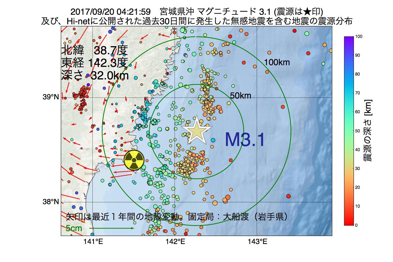 地震震源マップ:2017年09月20日 04時21分 宮城県沖でM3.1の地震