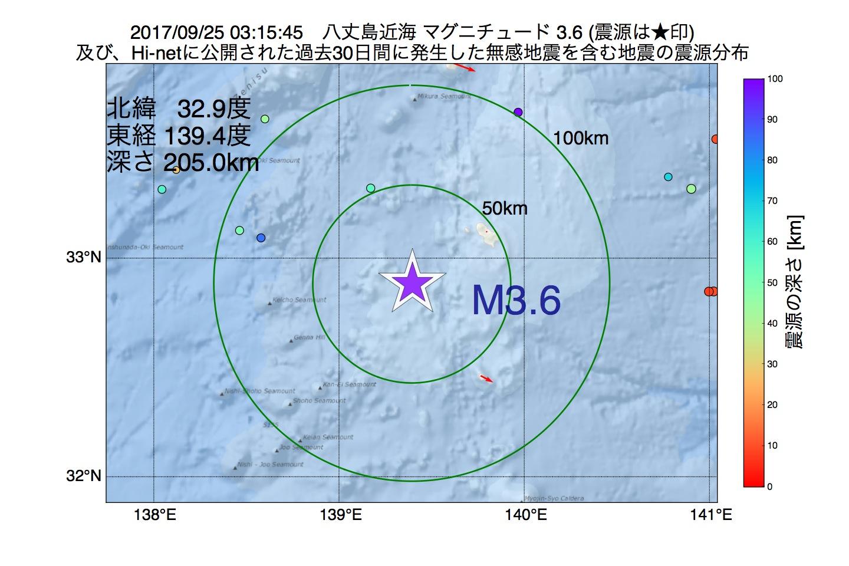 地震震源マップ:2017年09月25日 03時15分 八丈島近海でM3.6の地震