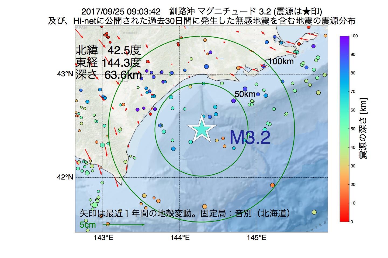 地震震源マップ:2017年09月25日 09時03分 釧路沖でM3.2の地震