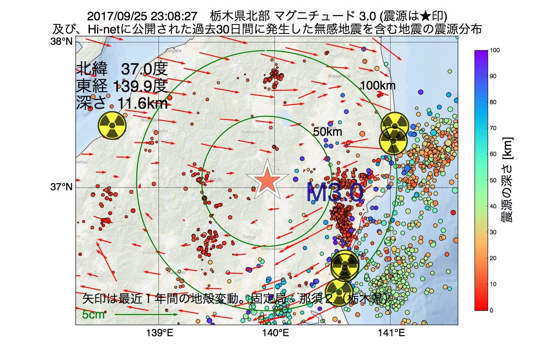 地震震源マップ:2017年09月25日 23時08分 栃木県北部でM3.0の地震