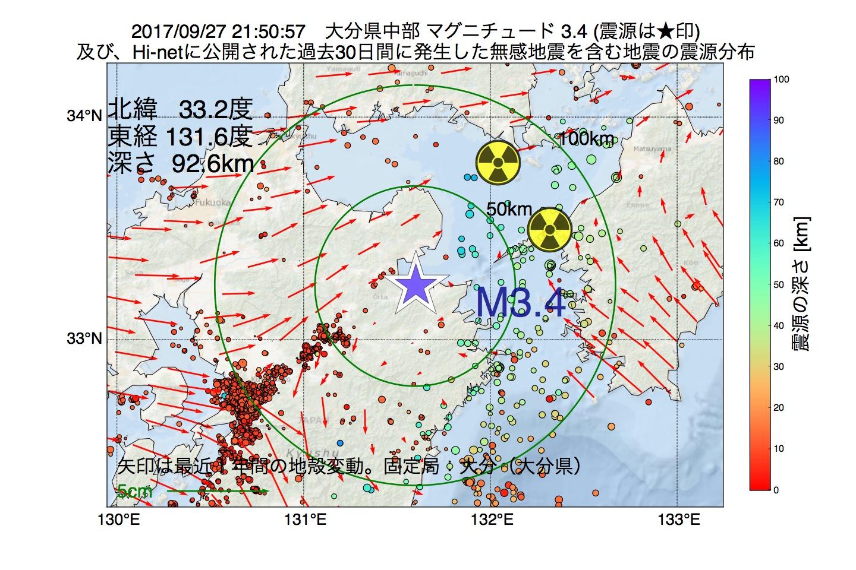 地震震源マップ:2017年09月27日 21時50分 大分県中部でM3.4の地震