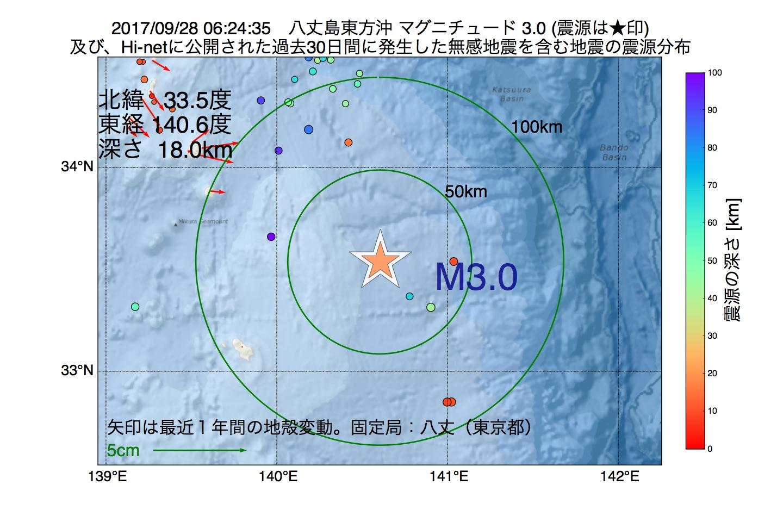 地震震源マップ:2017年09月28日 06時24分 八丈島東方沖でM3.0の地震