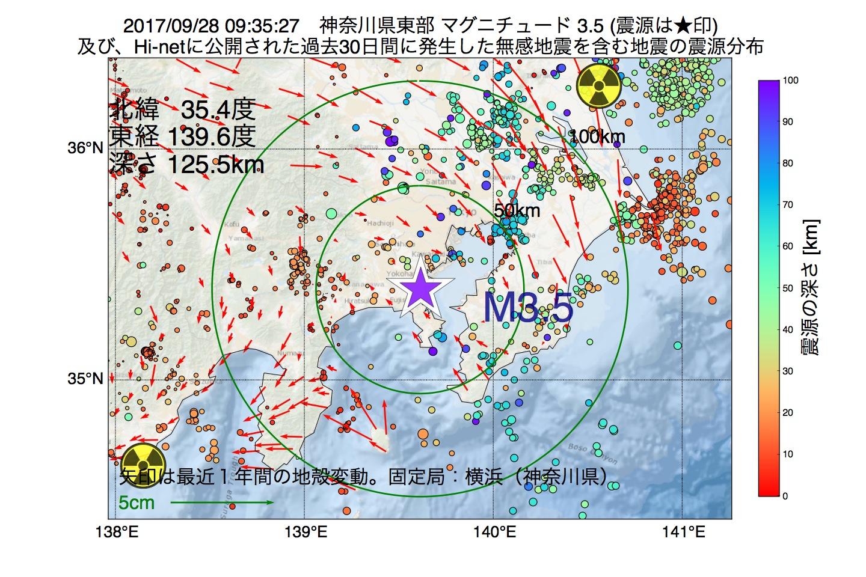 地震震源マップ:2017年09月28日 09時35分 神奈川県東部でM3.5の地震
