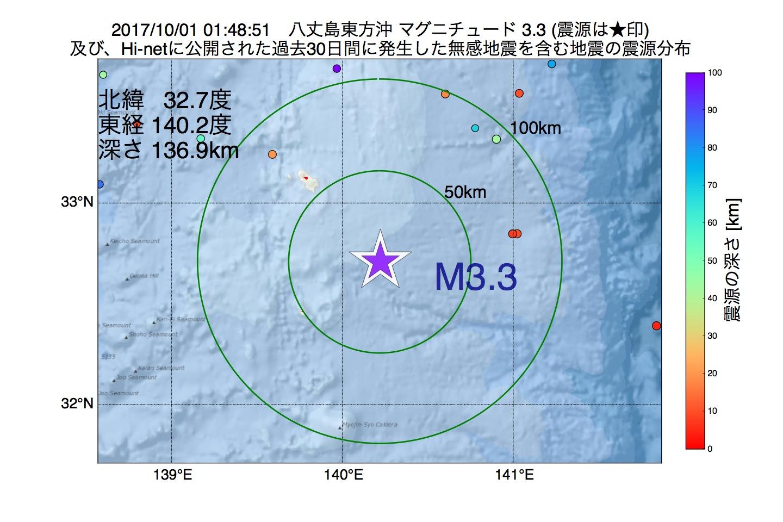地震震源マップ:2017年10月01日 01時48分 八丈島東方沖でM3.3の地震